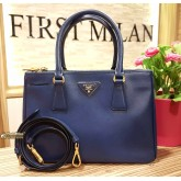 PRADA Saffiano Lux Double Zip Small Tote Bag