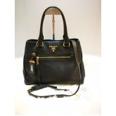 PRADA Vitello Black Leather Tote