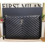 YSL Monogram Document Holder In Matelasse Leather