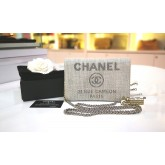 CHANEL Woven Straw Deauville WOC