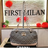 CHANEL Striped Shoulder Bag