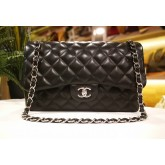 CHANEL Jumbo Lambskin Double Flap Bag With SHW