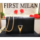YVES SAINT LAURENT Black Leather Y Wallet On Chain (WOC)