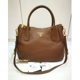 PRADA Vitello DainoTote In Dark Brown