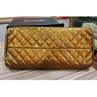 CHANEL Quilted Patent Leather Mademoiselle Bowling Bag