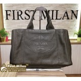 PRADA Vitello Daino Grey Tote Bag