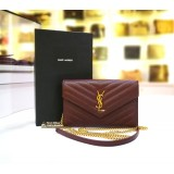 YSL Envelope Chain Wallet In Grain De Poudre Embossed Leather
