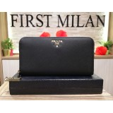 PRADA Saffiano Metal Nero Zippy Wallet