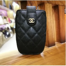 """CHANEL Caviar Quilted """"CC"""" Phone Slip Case"""