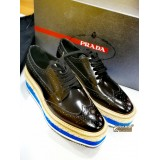 PRADA Brushed Leather Lace-up Derby Shoes (Size:36)