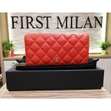 CHANEL Red Caviar Leather Bi-Fold Wallet