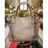 PRADA Vitello Daino Grey Two Way Bag