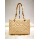 CHANEL Beige Grand Shopping Tote Bag (SHW)