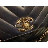 CHANEL Chevron Trendy Flap Bag With Top Handle