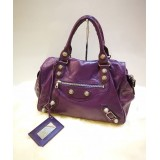 BALENCIAGA Purple Giant 21 Silver Brief Bag