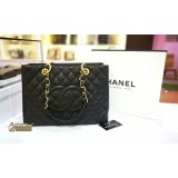 CHANEL Black Grand Shopping Tote In GHW Caviar