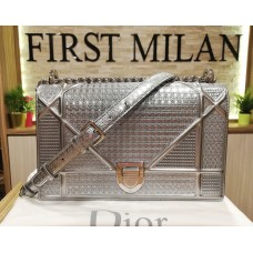 CHRISTIAN DIOR Diorama Metallic Calf Bag With Micro Cannage Motif