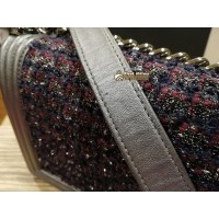 CHANEL Boy Wool Tweed Leather Bag