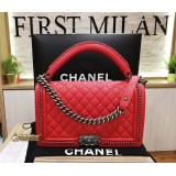 CHANEL Calfskin Boy Bag With Top Handle