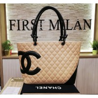 CHANEL Cambon Ligne Tote In Beige Black