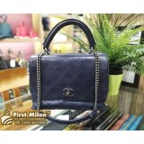 CHANEL Calfskin Leather Flap Bag With Top Handle