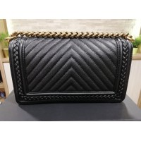 CHANEL Boy Chevron Caviar Leather Braided Around Bag