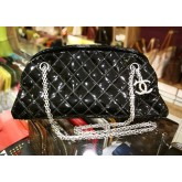 CHANEL Patent Leather Mademoiselle Bowling Bag