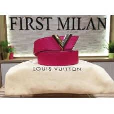 LOUIS VUITTON Pink Leather Belt (Size:80/32)