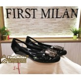 SALVATORE FERRAGAMO Black Flat Shoes (Size:5)