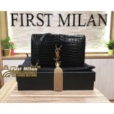 YVES SAINT LAURENT Tassel Chain Wallet Crocodile Embossed Leather