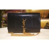 YVES SAINT LAURENT Python Leather Kate Tassel Bag Metallic Dark Blue