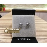 "CHANEL Crystal Silver Mini ""CC"" Logo Earrings"