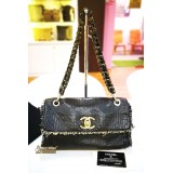 CHANEL Black Leather Tweed Medium Flap