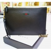 GUCCI Leather Pouch With Web