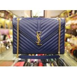 YVES SAINT LAURENT Monogram Satchel Matelasse Chevron Large Bag