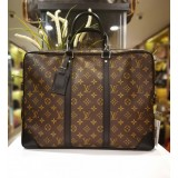 LOUIS VUITTON Monogram Macassar Porte Documents Briefcase