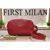 PRADA Red Saffiano Leather Belt Bag