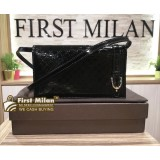 GUCCI Micro Guccissima Patent Leather Wallet With Strap
