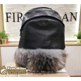 MCM Black Python Leather & Fox Fur Backpack