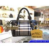 BURBERRY Charcoal Check Beat Medium Landscape Tote
