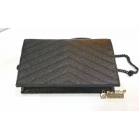 YSL Monogram Envelope Chain Wallet In Dark Anthracite