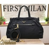 PRADA Tessuto Nylon & Saffiano Trim Top Zip Bag
