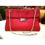 CHANEL Red Suede Leather Large Flap Bag