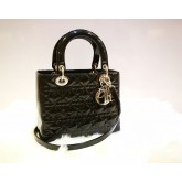 CHRISTIAN DIOR Patent Leather Lady Dior Tote Bag