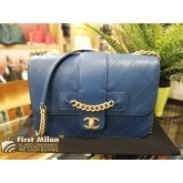 CHANEL Grained Calfskin Front Chain Flap Bag