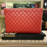 CHANEL Lambskin O Case Large Clutch Bag