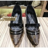 LOUIS VUITTON Monogram Canvas & Patent Leather Pump Heels (Size:38)