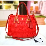 PRADA Red Gaufre Tessuto Nylon Shopping Tote