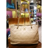 CHANEL Lambskin Light Brown Vintage Tote
