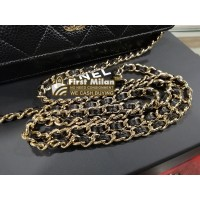 CHANEL Classic Caviar Black Wallet On Chain
